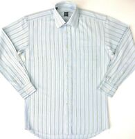 Ike Behar New York Dress Shirt Long Sleeve 100 Cotton Button Blue Striped Mens S