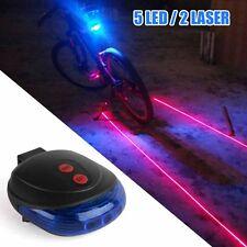 5 Blau LED 2 Laser Beam Bicycle Bike Cycling Tail Rear Light Safety Warning Lamp