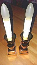 Window Candle w/Gold Plastic Base Set of 2 Battery Operated LED Dusk/Dawn Light