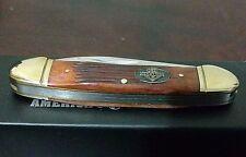 Burn'T Orange Bone Canoe Hunting Pocket Knife W/ Case Club Knife !