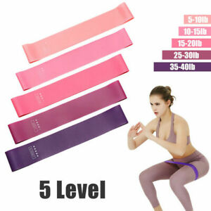 5pcs Training Fitness Gum Exercise Gym Strength Resistance Bands Pilates Sport
