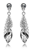 Austrian Crystal Jewellery Diamond Shine Silver & White Studs Drop Earrings E342