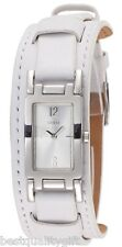 NEW GUESS WHITE MULTI LEATHER CUFF+RECTANGLE SILVER TONE DIAL WATCH G66599L+TAG