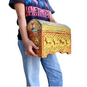 Medium Gold Antique Home Décor Wooden Treasure Chest Storage Organizer Vintage