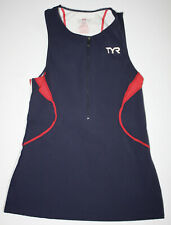 Tyr Women's Small Blue Red White Front Zip Singlet Triathlon Tank Usa Made New