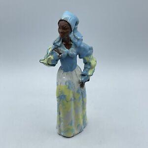 Jamaican Creole Woman Figurine Folk Art Pottery Red Clay Glazed Statue Sculpture