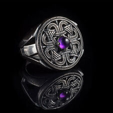 Northern Sun Slavic Ring, sterling silver and cubic zirconia, handmade