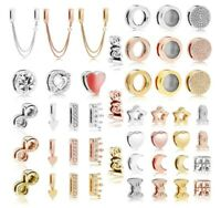 Silver Plated Charm Rose & Gold Reflexions Smooth Love Heart Clip Lock Beads