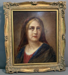 1934 Antique MARY PORTRAIT Old POST IMPRESSIONIST Style LADY Oil PAINTING Frame