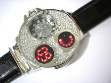 Silver Tone Case Leather Band Techno King Men's Watch Crystals w. Touch Screen