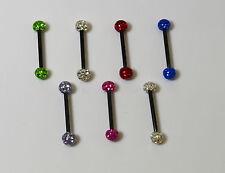 Piercing langue Crystal  recouvert de résine  7 couleurs dispo