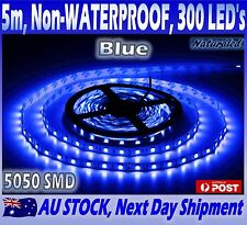 Blue LED Strip Lights 12V 5M 5050 SMD 300 LED's IP20 Non-Waterproof For Indoors