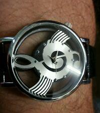 Luxury Fashion Mens Women Leather Band Quartz Analog Unique Wrist Watch Black GL
