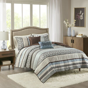 NEW! ~  COZY BLUE GREY BROWN WHITE LODGE LOG CABIN COUNTRY PLAID LEAF QUILT SET