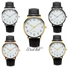 Mens Wrist Watches Watch Quartz Analogue S Steel Casual Fashion Leather Gift Uk