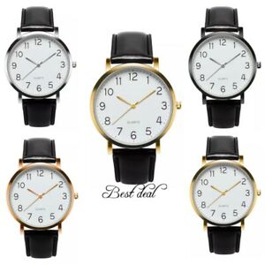 Mens Watches Casual Gents Wrist Watch Quartz Analogue Leather Gift Uk Fashion