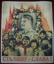 "WW2 Soviet Union Russian ""Glory to Stalin!"" communist poster"