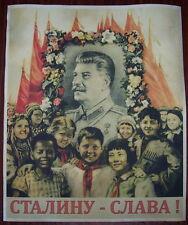 "WW2 Soviet Union Russian ""Glory to Stalin!"" communist poster"