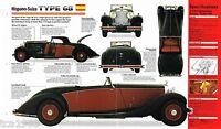 1933/1934/1935 HISPANO-SUIZA TYPE 68 SPEC SHEET / Brochure / Pamphlet