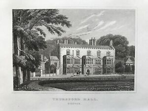 1830 Antique Print; Thursford Hall, Norfolk after Neale
