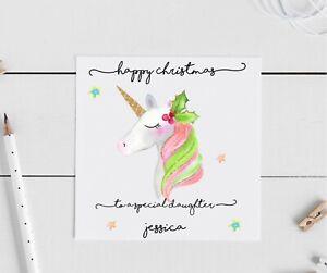 Personalised Christmas Card Unicorn daughter Granddaughter, niece, friend