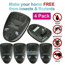 4x Electronic Ultrasonic Riddex Plus Mosquito Rat Rodent Mice Bug Pest Repeller
