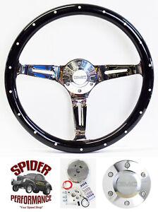 "1982-1994 S-15 Jimmy steering wheel GMC 14"" BLACK WOOD RIVET"