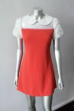 Peter Pan Collar Mesh Flutter Ultra Mini Mod Gogo Orange Party Dress Sz S