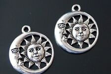 10 Tibetan Silver Moon and Sun Charms Pendants TSC85