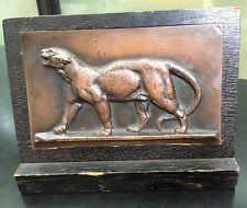 Barye Bronze Leopard Plaque Sothebys Provenance Antique Sculpture Wood Surround
