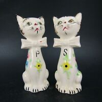 Vintage Cat Salt Pepper Shakers Floral painted Green eyes Bows Ceramic   INV481