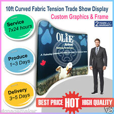 10ft Curved Fabric Tension Backwall Pop Up Trade Show Display Booth with Graphic
