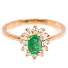 NATURAL AAA GREEN EMERALD OVAL & WHITE CZ STERLING 925 SILVER RING SIZE 8