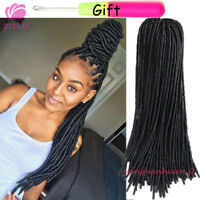 20'' Soft Straight Faux Locs Twist Crochet Braid Synthetic Hair Dreadlocks Black