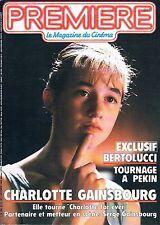 Premiere  N°115  oct 1986:Bertolucci Charlotte gainsbourg