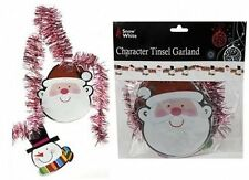 Christmas Character Red & Silver 7ft Tinsel Garland Santa Snowman