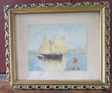 "Vintage WATERCOLOR SAILBOAT,Miniature, 4""x5"", FRAMED, C.1900"