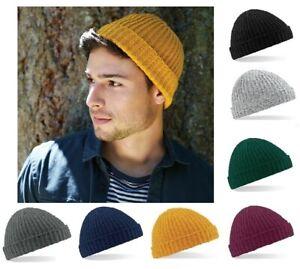 Mens Trawler Beanie Hat Wool Ribbed Cuffed Fisherman Beanie Hats