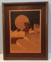Vintage Marquetry Picture 12x15 Ram On Mountain In Sunset Western Big Horn Frame