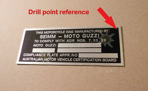 SEIMM MOTO GUZZI AUSTRALIA COMPLIANCE PLATE Head tube FRAME W / ENGRAVING NUMBER
