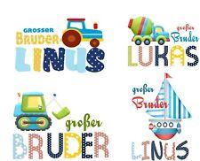 Bügelbild Applikation großer Bruder mit Namen für alle Farben Traktor Schiff Eul