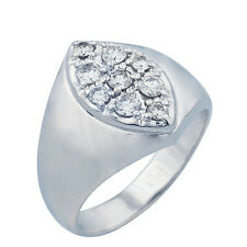 14K White Gold Diamond Mens Ring  0.75ct  Size 12.5  13.65 Grams  SOLID