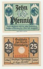 Germany 10 & 25 Pfennig 1920 Notgeld Nurnberg UNC Small Banknote Set - 2 pcs