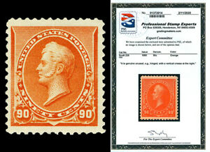 Scott 229 1890 90c Perry No Triangle Issue Mint Jumbo VF HR with PSE CERT!