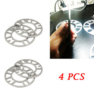 4PCS 5mm Alloy Aluminum Wheel Spacers Adaptor Shims Plate 4/5 Stud For Car SUV