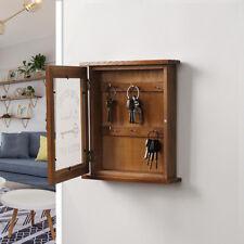 Blesiya Pastoral Style Key Cabinet Wooden Key Holder Box with 6 Hooks-Brown