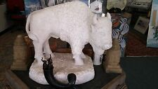 Large Carved Marble Buffalo Signed & Dated In Stone B C Davis 4,1991 One of Kind