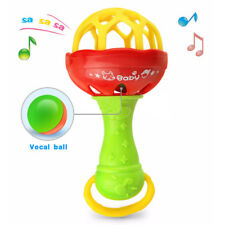Soft Silicone Teether Grabbing Rattle Small Maracas Music 2-in-1 Toy For Baby