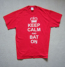 CRICKET T SHIRT 'KEEP CALM AND BAT' ON  RED MEDIUM SIZE