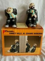 EMMITT KELLY JR FLAMBRO IMPORTS 1989 Hand Painted CERAMIC CLOWN BOOKENDS/Box